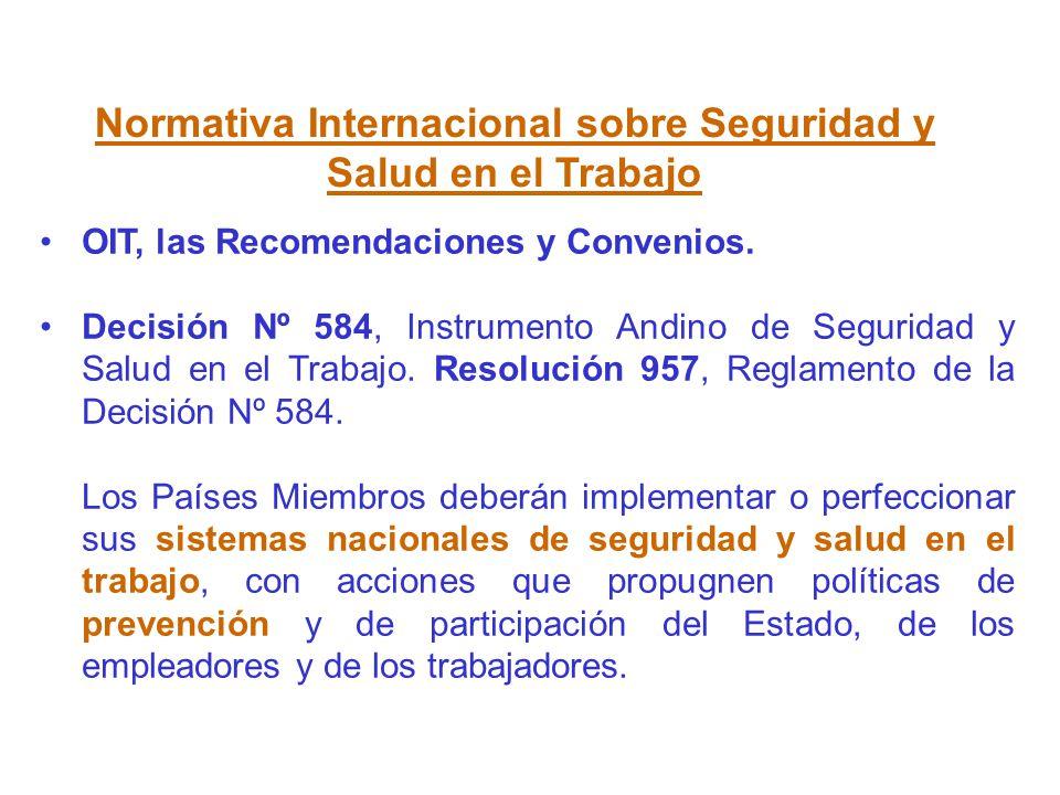 Normativa Internacional sobre Seguridad y Salud en el Trabajo OIT, las Recomendaciones y Convenios. Decisión Nº 584, Instrumento Andino de Seguridad y
