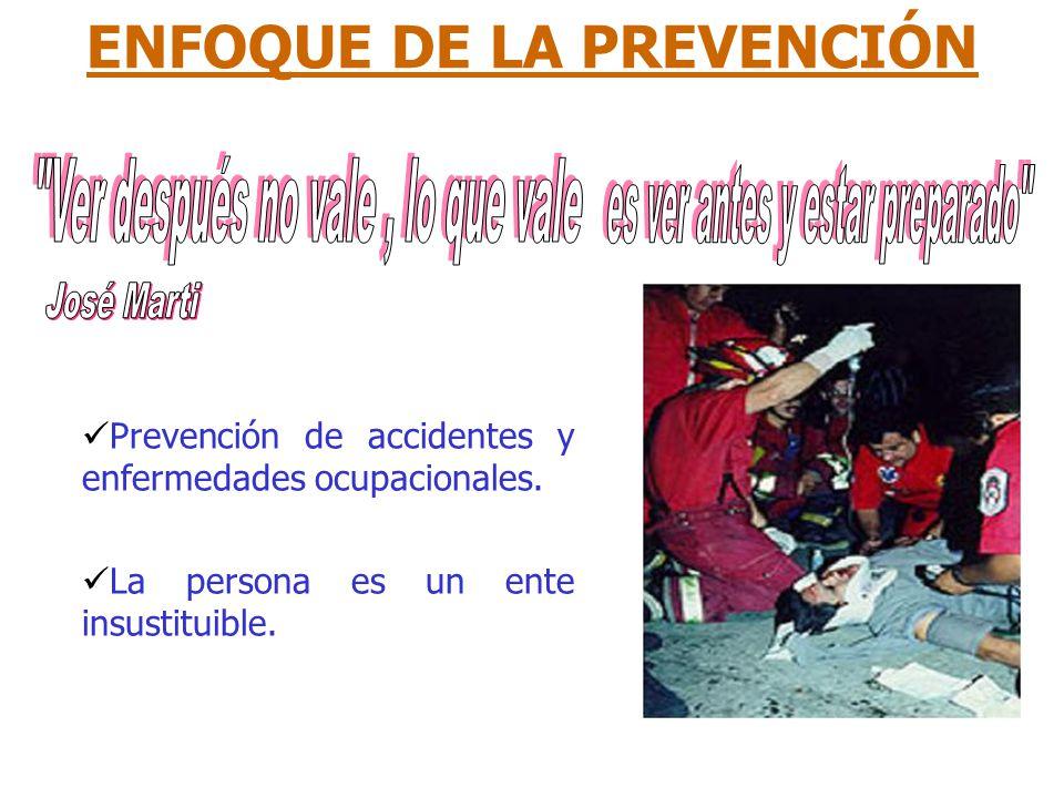 ENFOQUE DE LA PREVENCIÓN Prevención de accidentes y enfermedades ocupacionales. La persona es un ente insustituible.
