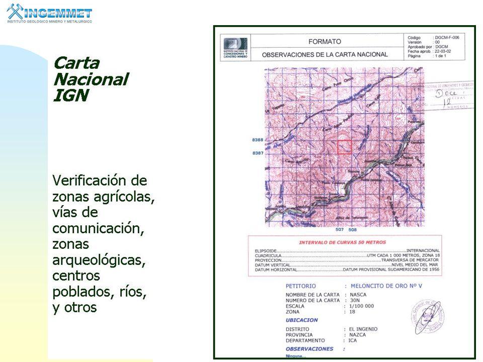 9 Sistema de Cuadrículas El sistema de Cuadrículas está elaborado sobre la base de las Cartas Nacionales del Instituto Geográfico Nacional.
