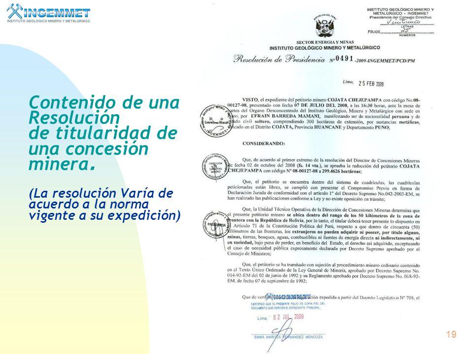 18 Título de Concesión Minera Producidos los dictámenes técnico y legal favorables, los que deberán emitirse en un plazo no mayor de treinta días cont