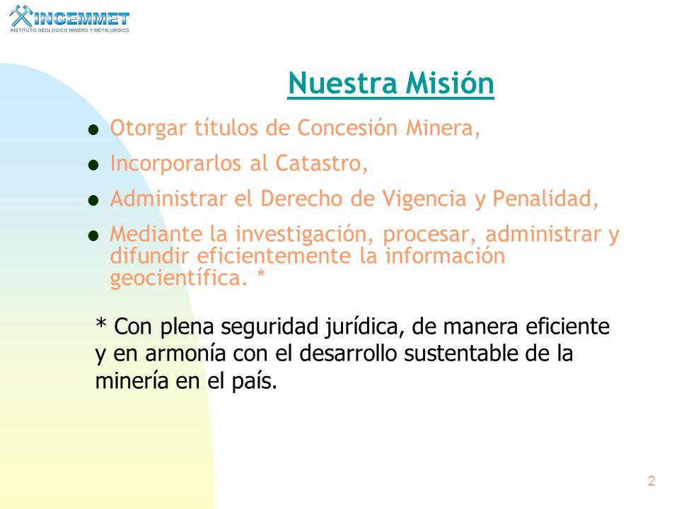 1 Concesiones Mineras Ing. Walter Casquino Rey Presidente del Consejo Directivo del INGEMMET