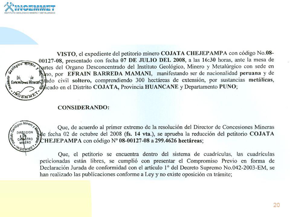 19 Contenido de una Resolución de titularidad de una concesión minera. (La resolución Varía de acuerdo a la norma vigente a su expedición)