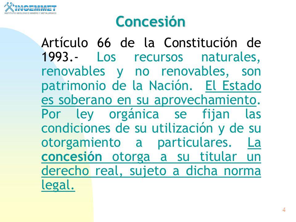 3 CONCESION MINERA BASE LEGAL Constitución Política del Perú. (Art. 66º) Ley N° 26821 Ley Orgánica para el aprovechamiento sostenible de los recursos