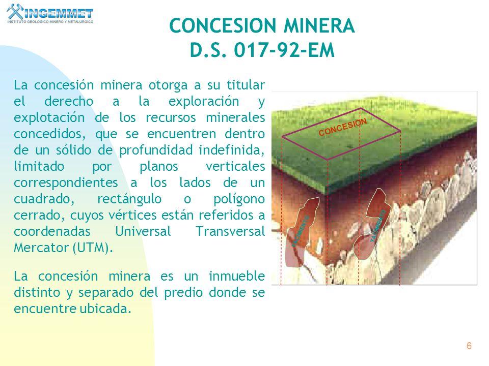 6 La concesión minera otorga a su titular el derecho a la exploración y explotación de los recursos minerales concedidos, que se encuentren dentro de un sólido de profundidad indefinida, limitado por planos verticales correspondientes a los lados de un cuadrado, rectángulo o polígono cerrado, cuyos vértices están referidos a coordenadas Universal Transversal Mercator (UTM).