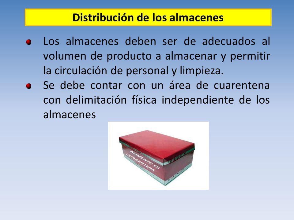 Los almacenes deben ser de adecuados al volumen de producto a almacenar y permitir la circulación de personal y limpieza. Se debe contar con un área d
