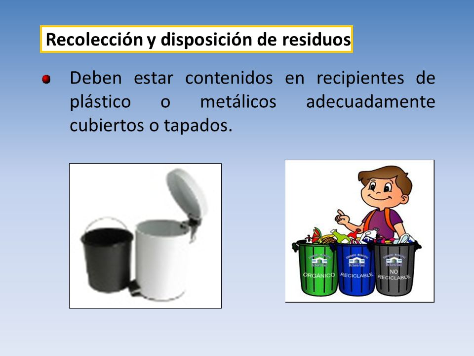 Deben estar contenidos en recipientes de plástico o metálicos adecuadamente cubiertos o tapados. Recolección y disposición de residuos