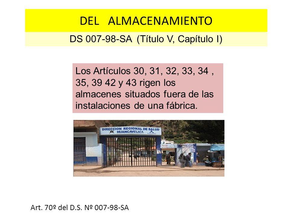 DS 007-98-SA (Título V, Capítulo I) Estructura física y acabados Art. 70º del D.S. Nº 007-98-SA DEL ALMACENAMIENTO Los Artículos 30, 31, 32, 33, 34, 3