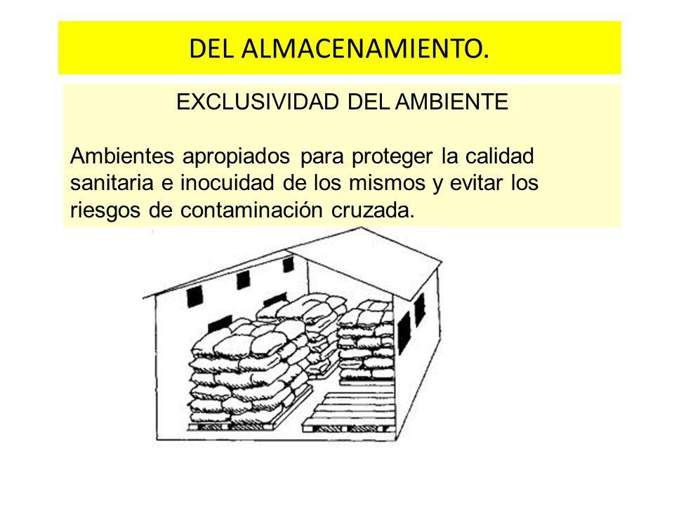 Estructura física y acabados DEL ALMACENAMIENTO. EXCLUSIVIDAD DEL AMBIENTE Ambientes apropiados para proteger la calidad sanitaria e inocuidad de los
