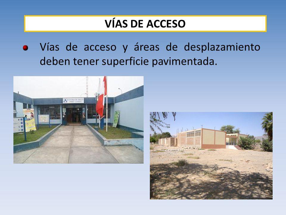Vías de acceso y áreas de desplazamiento deben tener superficie pavimentada. VÍAS DE ACCESO