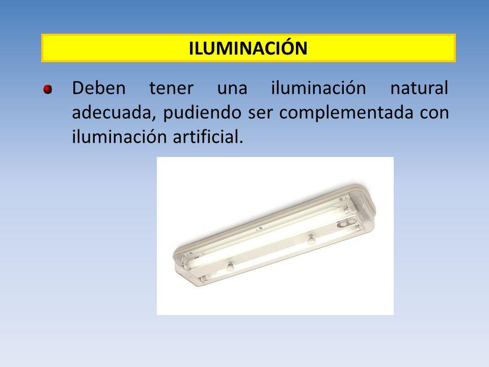 Deben tener una iluminación natural adecuada, pudiendo ser complementada con iluminación artificial. ILUMINACIÓN