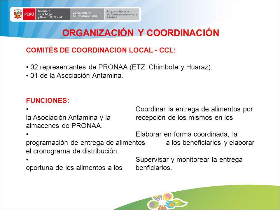 COMITÉS DE COORDINACION LOCAL - CCL: 02 representantes de PRONAA (ETZ: Chimbote y Huaraz). 01 de la Asociación Antamina. FUNCIONES: Coordinar la entre