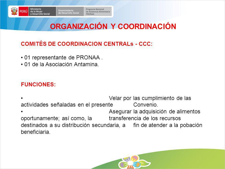 COMITÉS DE COORDINACION CENTRALs - CCC: 01 representante de PRONAA. 01 de la Asociación Antamina. FUNCIONES: Velar por las cumplimiento de las activid