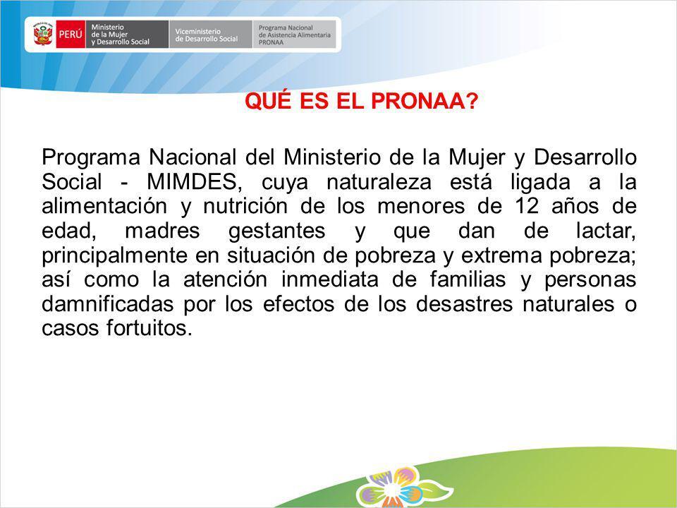 QUÉ ES EL PRONAA? Programa Nacional del Ministerio de la Mujer y Desarrollo Social - MIMDES, cuya naturaleza está ligada a la alimentación y nutrición