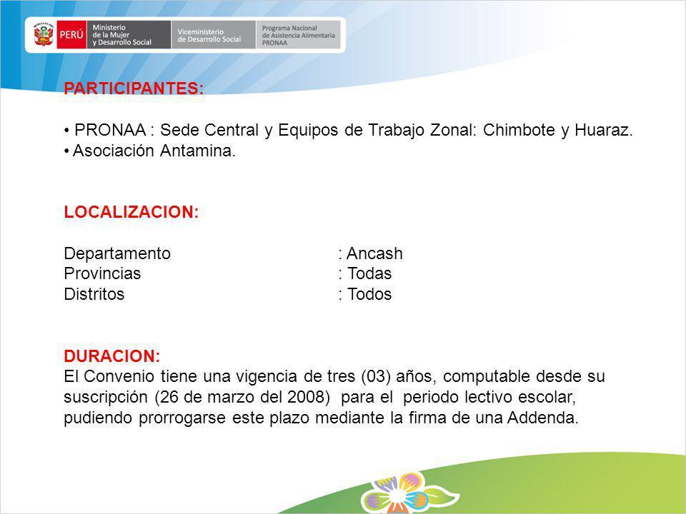 PARTICIPANTES: PRONAA : Sede Central y Equipos de Trabajo Zonal: Chimbote y Huaraz. Asociación Antamina. LOCALIZACION: Departamento: Ancash Provincias