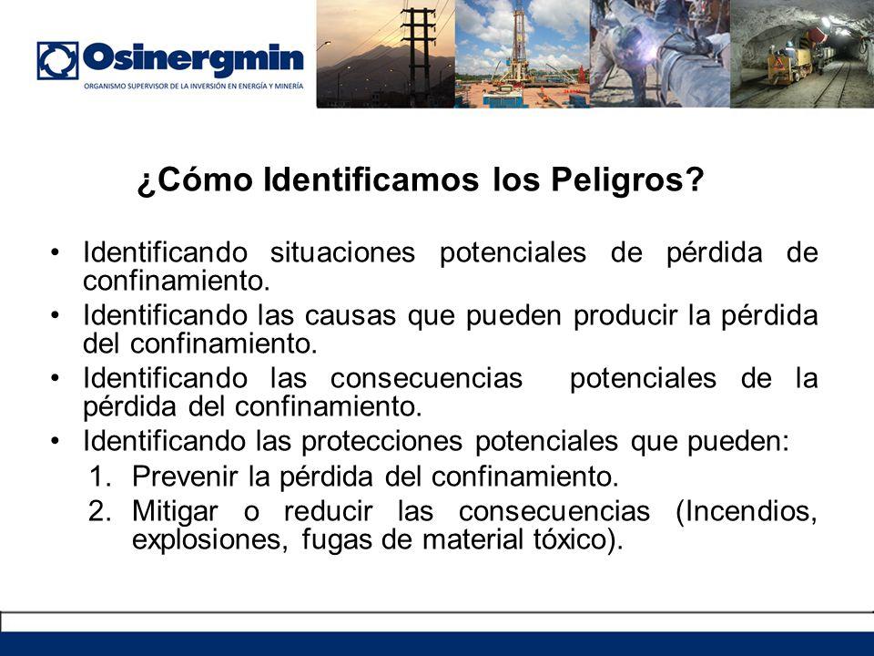 ¿Cómo Identificamos los Peligros? Identificando situaciones potenciales de pérdida de confinamiento. Identificando las causas que pueden producir la p