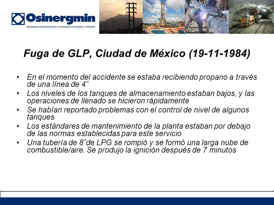 Fuga de GLP, Ciudad de México (19-11-1984) En el momento del accidente se estaba recibiendo propano a través de una línea de 4 Los niveles de los tanq