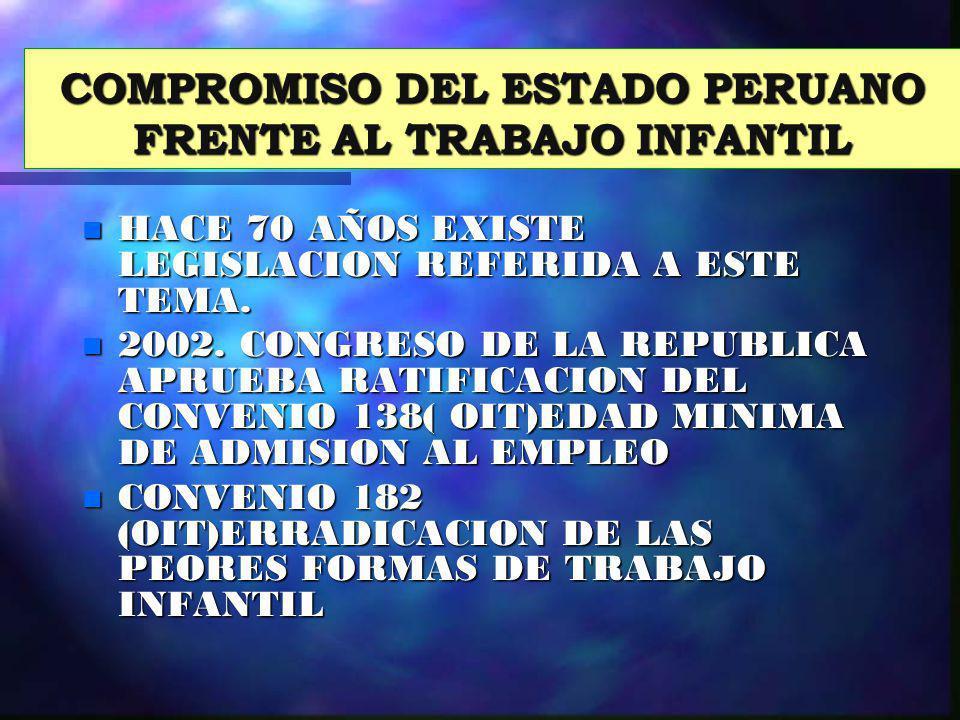 COMPROMISO DEL ESTADO PERUANO FRENTE AL TRABAJO INFANTIL n HACE 70 AÑOS EXISTE LEGISLACION REFERIDA A ESTE TEMA. n 2002. CONGRESO DE LA REPUBLICA APRU