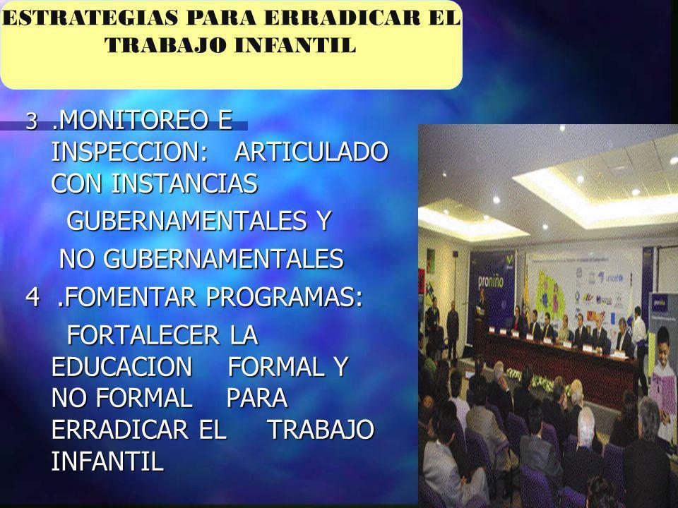 3. MONITOREO E INSPECCION: ARTICULADO CON INSTANCIAS GUBERNAMENTALES Y GUBERNAMENTALES Y NO GUBERNAMENTALES NO GUBERNAMENTALES 4.FOMENTAR PROGRAMAS: F
