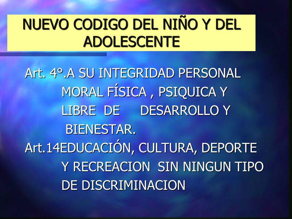 NUEVO CODIGO DEL NIÑO Y DEL ADOLESCENTE Art. 4°.A SU INTEGRIDAD PERSONAL MORAL FÍSICA, PSIQUICA Y MORAL FÍSICA, PSIQUICA Y LIBRE DE DESARROLLO Y LIBRE