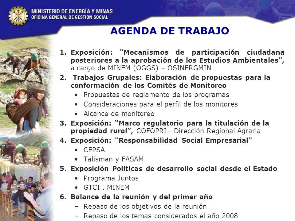 AGENDA DE TRABAJO 1.Exposición: Mecanismos de participación ciudadana posteriores a la aprobación de los Estudios Ambientales, a cargo de MINEM (OGGS) – OSINERGMIN 2.