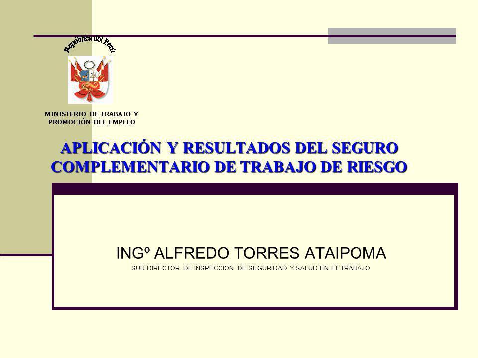 APLICACIÓN Y RESULTADOS DEL SEGURO COMPLEMENTARIO DE TRABAJO DE RIESGO INGº ALFREDO TORRES ATAIPOMA SUB DIRECTOR DE INSPECCION DE SEGURIDAD Y SALUD EN