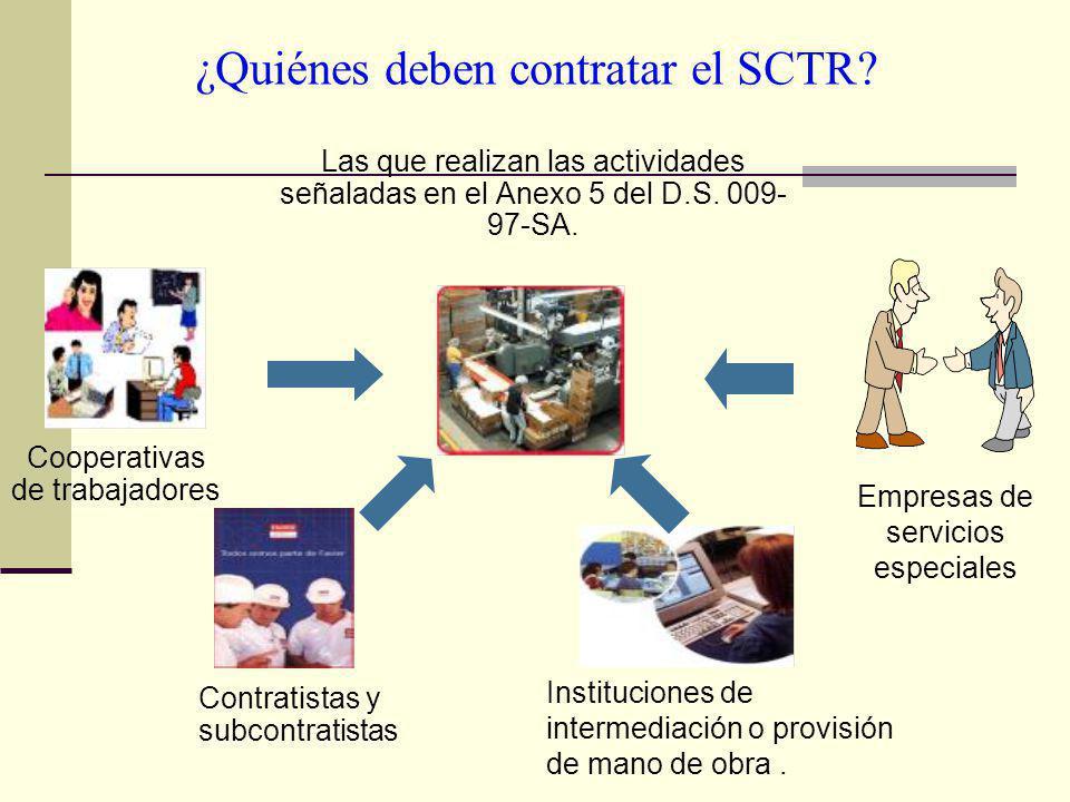 ¿Quiénes deben contratar el SCTR? Las que realizan las actividades señaladas en el Anexo 5 del D.S. 009- 97-SA. Cooperativas de trabajadores Empresas