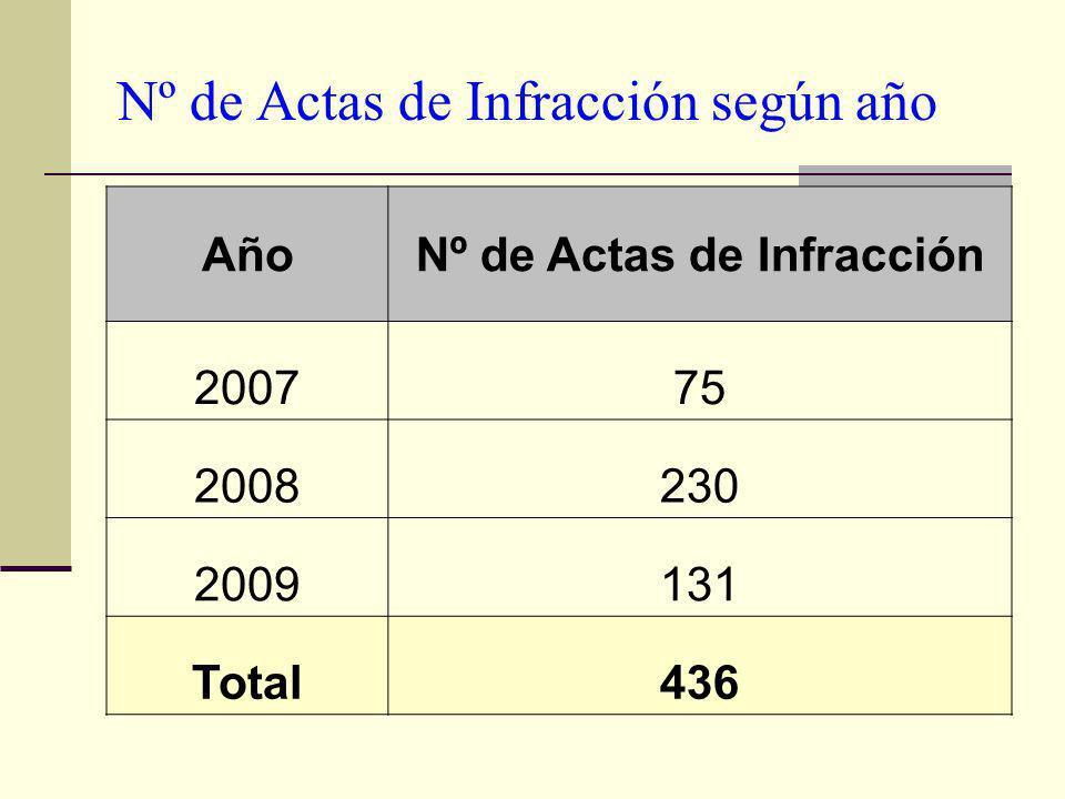 Nº de Actas de Infracción según año AñoNº de Actas de Infracción 200775 2008230 2009131 Total436