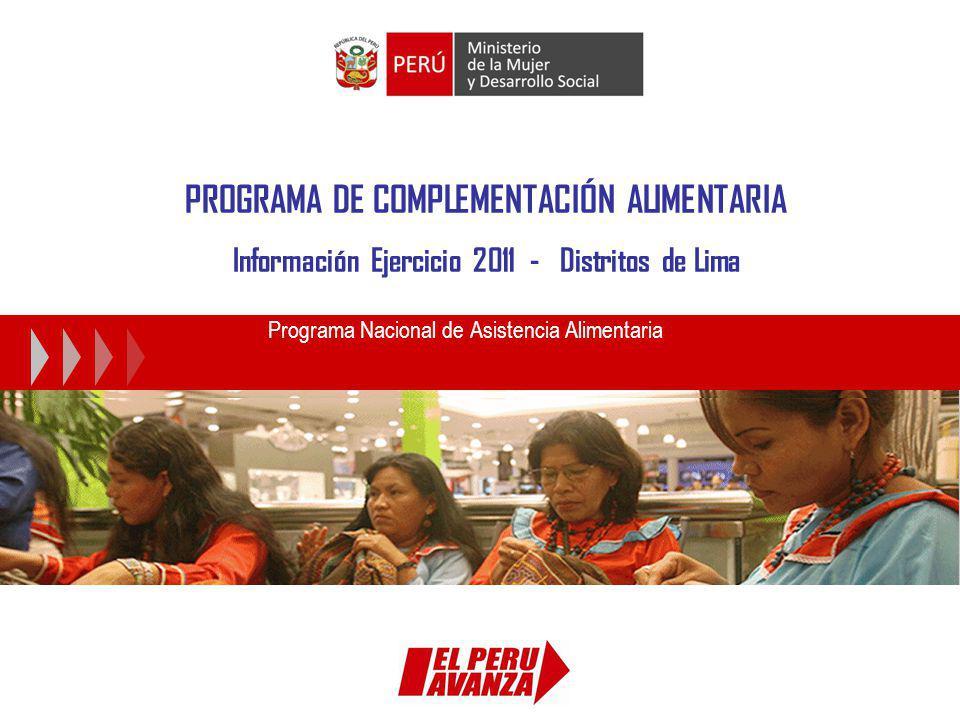 PROGRAMA DE COMPLEMENTACIÓN ALIMENTARIA Información Ejercicio 2011 - Distritos de Lima Programa Nacional de Asistencia Alimentaria