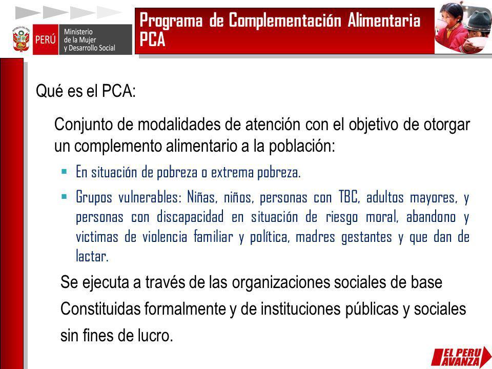 Programa de Complementación Alimentaria PCA Qué es el PCA: Conjunto de modalidades de atención con el objetivo de otorgar un complemento alimentario a
