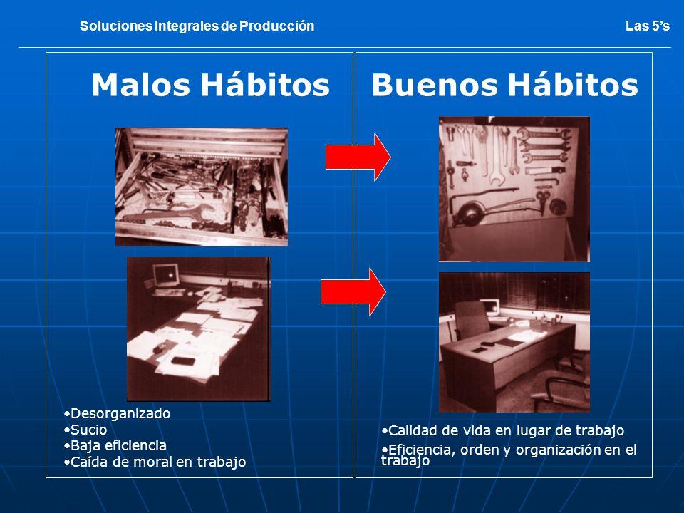 Malos HábitosBuenos Hábitos Desorganizado Sucio Baja eficiencia Caída de moral en trabajo Calidad de vida en lugar de trabajo Eficiencia, orden y orga