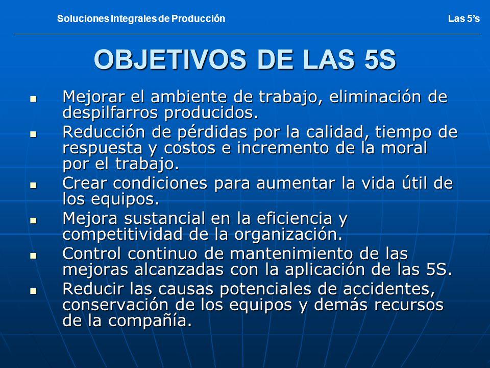 OBJETIVOS DE LAS 5S Mejorar el ambiente de trabajo, eliminación de despilfarros producidos. Mejorar el ambiente de trabajo, eliminación de despilfarro