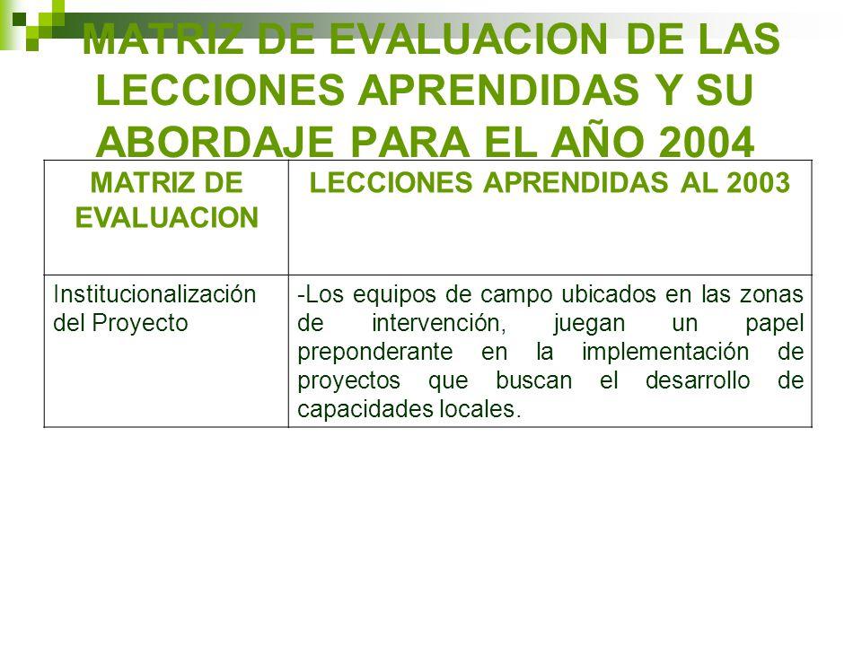 MATRIZ DE EVALUACION DE LAS LECCIONES APRENDIDAS Y SU ABORDAJE PARA EL AÑO 2004 MATRIZ DE EVALUACION LECCIONES APRENDIDAS AL 2003 Institucionalización