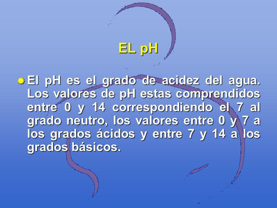 EL pH El pH es el grado de acidez del agua. Los valores de pH estas comprendidos entre 0 y 14 correspondiendo el 7 al grado neutro, los valores entre