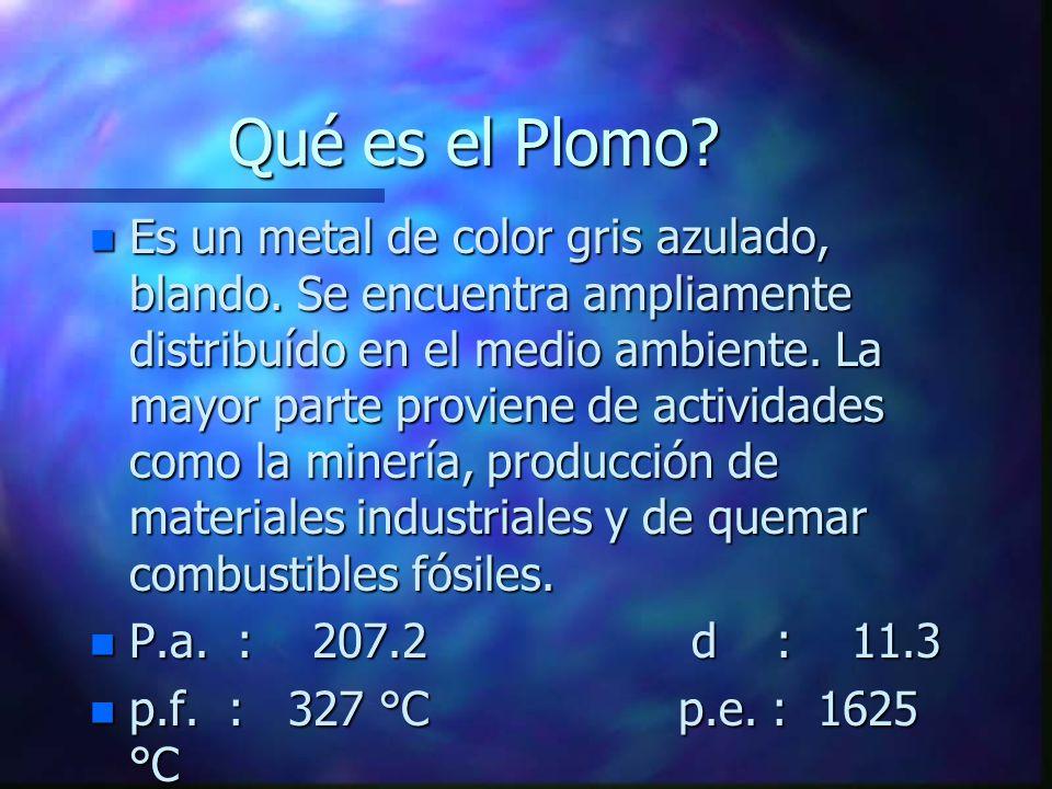 Qué es el Plomo? n Es un metal de color gris azulado, blando. Se encuentra ampliamente distribuído en el medio ambiente. La mayor parte proviene de ac