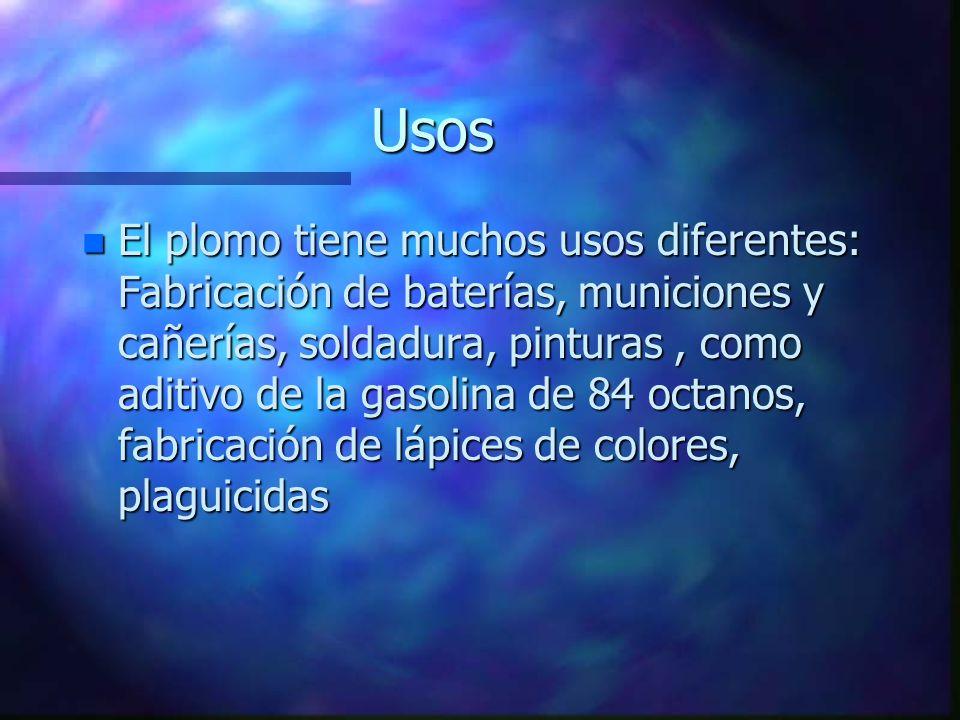 Concentraciones Máximas permisibles n Son niveles establecidos para el plomo, hasta los cuales este tóxico no causa efectos adversos en la salud.