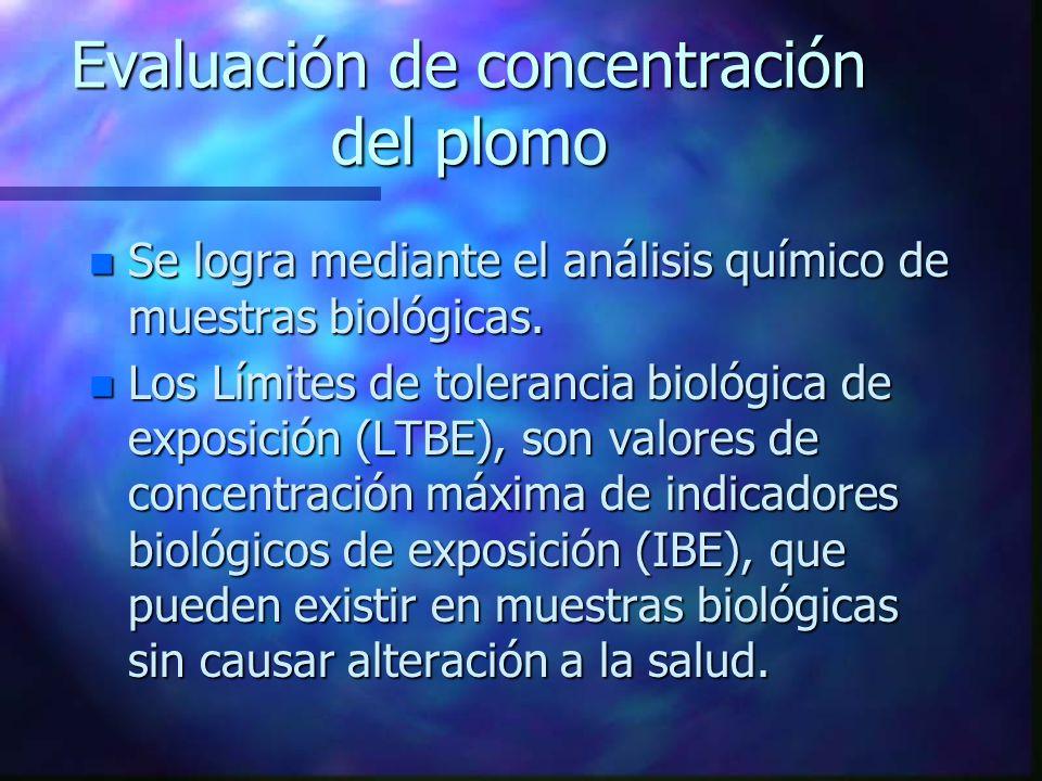 Evaluación de concentración del plomo n Se logra mediante el análisis químico de muestras biológicas. n Los Límites de tolerancia biológica de exposic