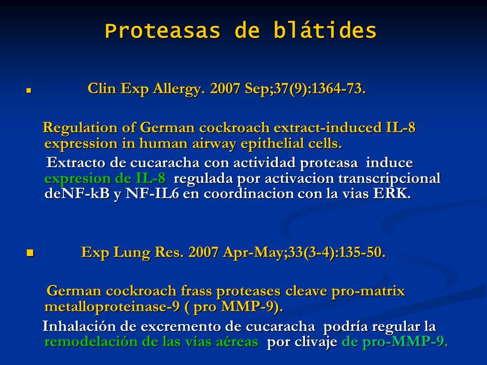 Proteasas de blátides Clin Exp Allergy. 2007 Sep;37(9):1364-73. Clin Exp Allergy. 2007 Sep;37(9):1364-73. Regulation of German cockroach extract-induc