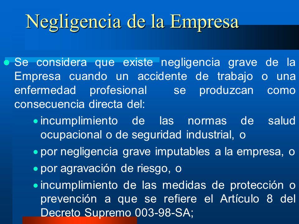 Negligencia de la Empresa Se considera que existe negligencia grave de la Empresa cuando un accidente de trabajo o una enfermedad profesional se produ