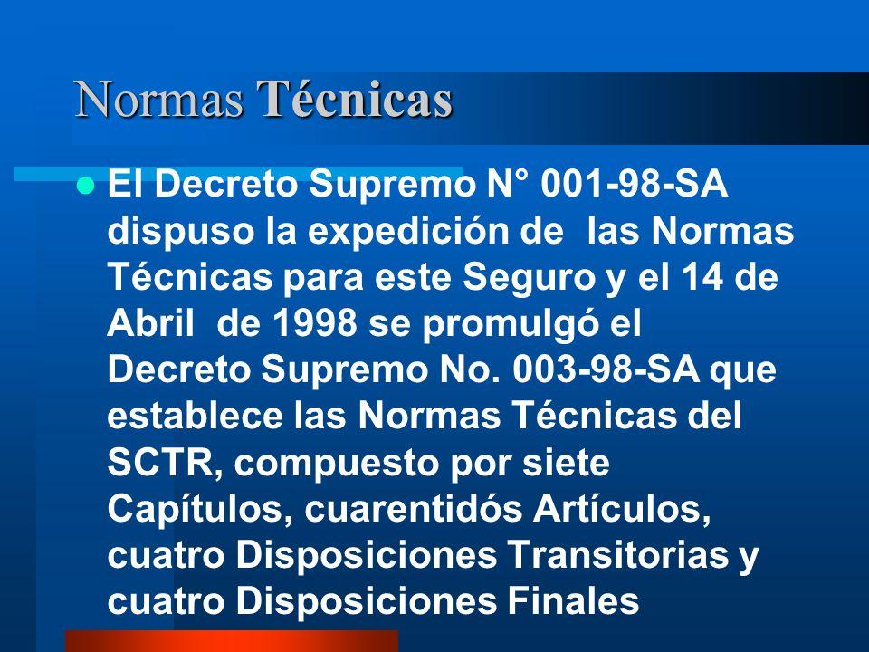 Normas Técnicas El Decreto Supremo N° 001-98-SA dispuso la expedición de las Normas Técnicas para este Seguro y el 14 de Abril de 1998 se promulgó el