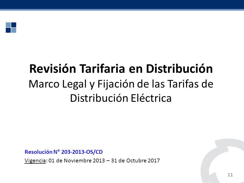 11 Revisión Tarifaria en Distribución Marco Legal y Fijación de las Tarifas de Distribución Eléctrica Resolución N° 203-2013-OS/CD Vigencia: 01 de Nov