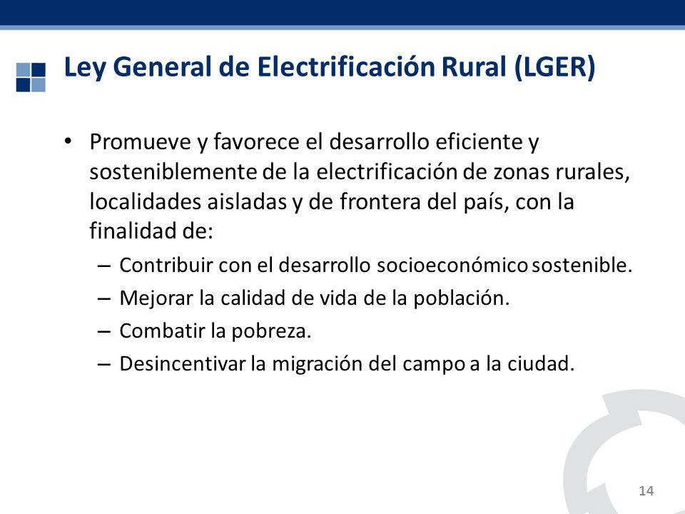 Ley General de Electrificación Rural (LGER) Promueve y favorece el desarrollo eficiente y sosteniblemente de la electrificación de zonas rurales, loca