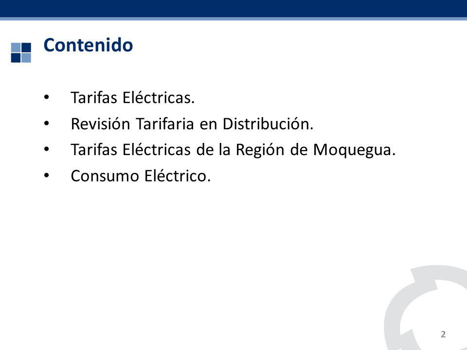 Contenido Tarifas Eléctricas. Revisión Tarifaria en Distribución. Tarifas Eléctricas de la Región de Moquegua. Consumo Eléctrico. 2