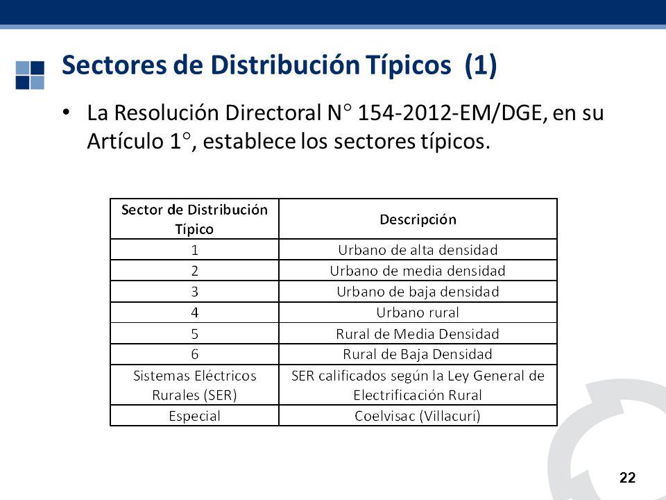 Sectores de Distribución Típicos (1) La Resolución Directoral N 154-2012-EM/DGE, en su Artículo 1, establece los sectores típicos. 22