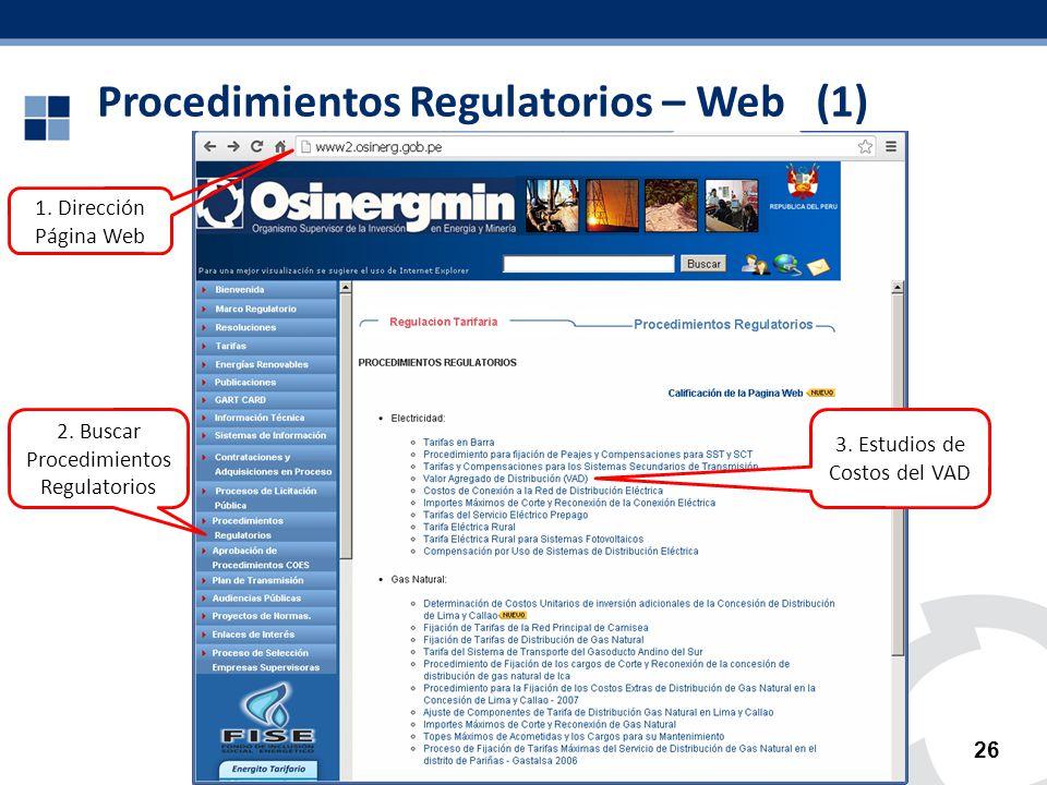 Procedimientos Regulatorios – Web (1) 26 2. Buscar Procedimientos Regulatorios 1. Dirección Página Web 3. Estudios de Costos del VAD