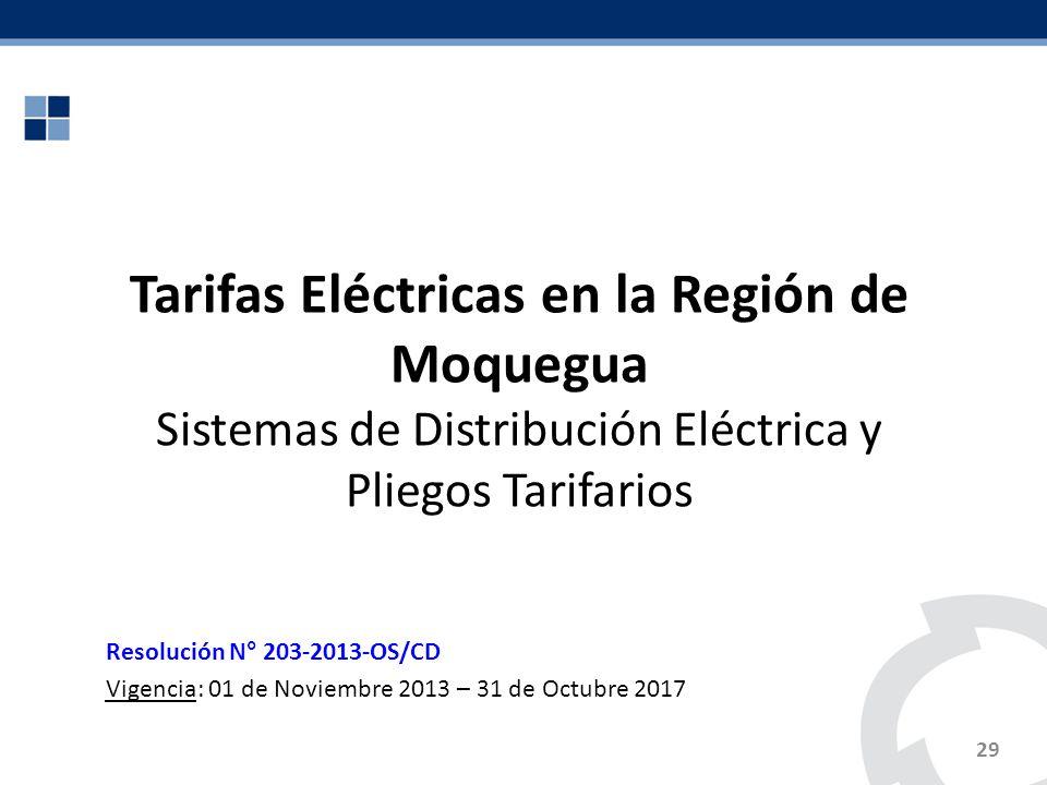 29 Tarifas Eléctricas en la Región de Moquegua Sistemas de Distribución Eléctrica y Pliegos Tarifarios Resolución N° 203-2013-OS/CD Vigencia: 01 de No
