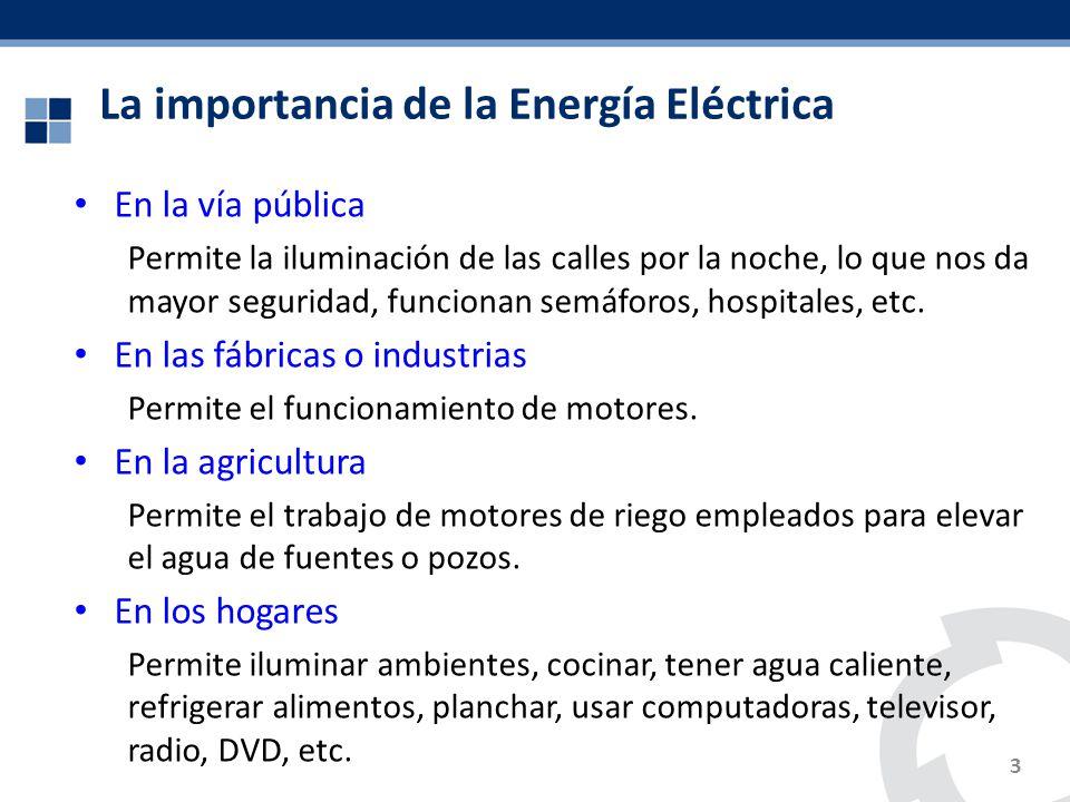 La importancia de la Energía Eléctrica En la vía pública Permite la iluminación de las calles por la noche, lo que nos da mayor seguridad, funcionan s