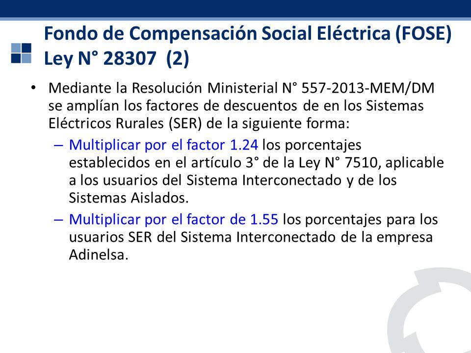 Mediante la Resolución Ministerial N° 557-2013-MEM/DM se amplían los factores de descuentos de en los Sistemas Eléctricos Rurales (SER) de la siguient