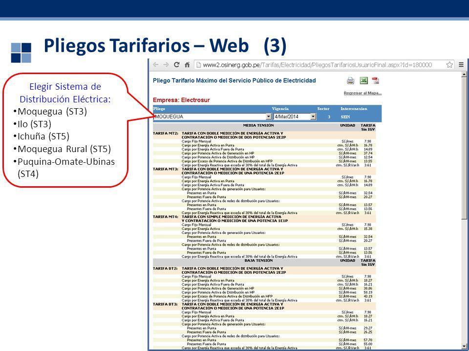 Pliegos Tarifarios – Web (3) 37 Elegir Sistema de Distribución Eléctrica: Moquegua (ST3) Ilo (ST3) Ichuña (ST5) Moquegua Rural (ST5) Puquina-Omate-Ubi