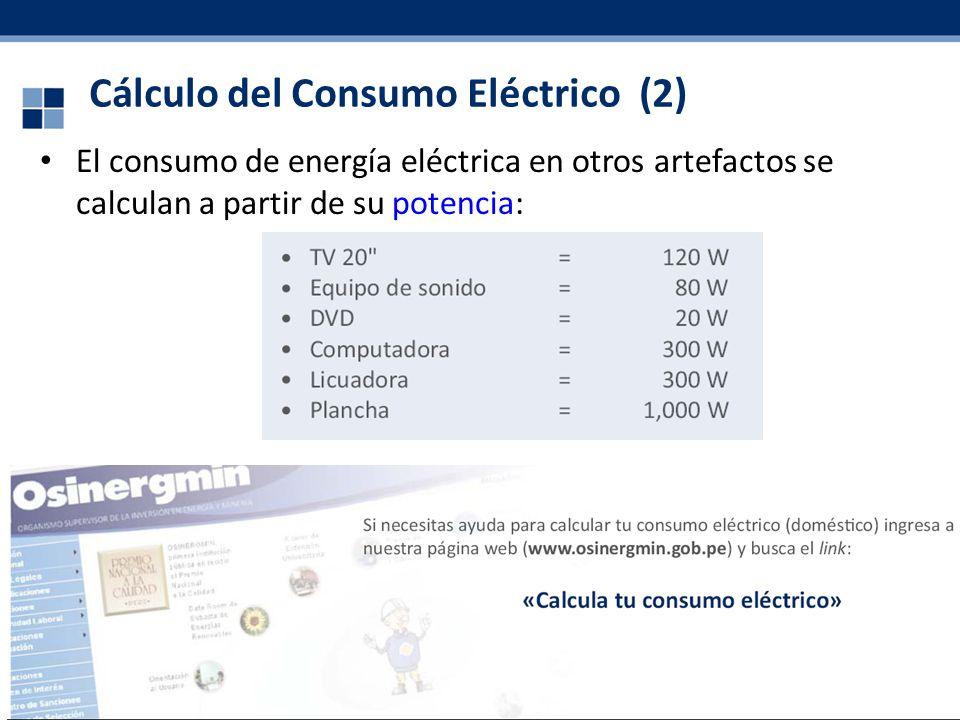 41 Cálculo del Consumo Eléctrico (2) El consumo de energía eléctrica en otros artefactos se calculan a partir de su potencia: