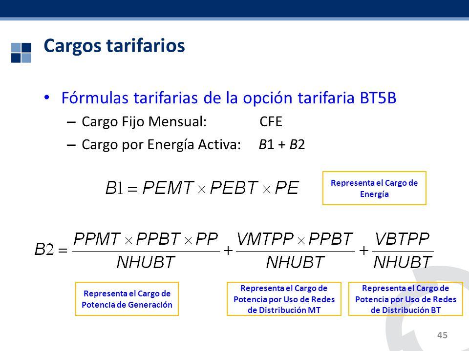 Fórmulas tarifarias de la opción tarifaria BT5B – Cargo Fijo Mensual: CFE – Cargo por Energía Activa: B1 + B2 Cargos tarifarios 45 Representa el Cargo